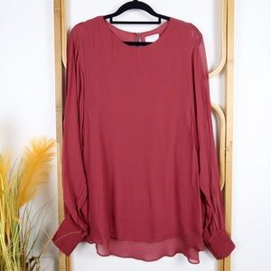 Witchery top size 10 maroon long sheer sleeve